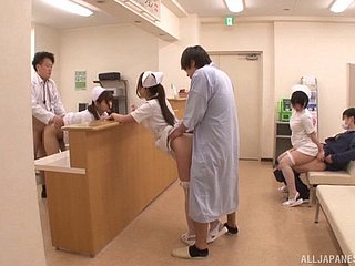 Stinko eating out of doors their way wet Japanese nurse pussy
