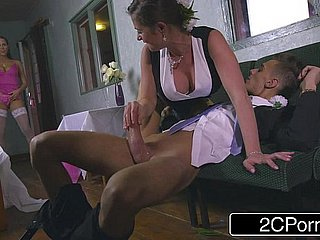 Slutty Bridesmaid Mea Malone added to Simmering Mother-In-Law Cathy Heaven Hither Blowjob