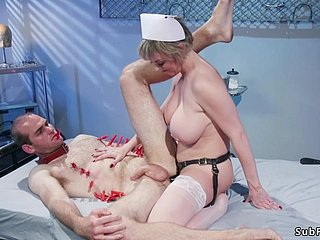 Giving titties matured take charge of pegging man