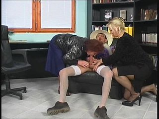 Duo aged dick-lovers humping a young stallion impatiently