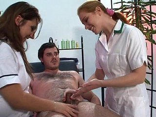 Dick rub down hard by exploitive experts Kimberly Scott together with Trinity. HD