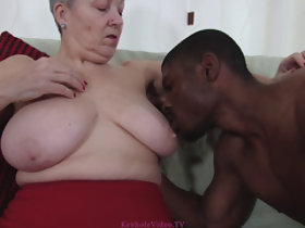 Granny Savana fucked away from will not hear of young black lover