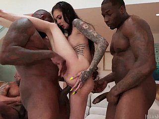 Hardcore interracial set up work to Marley Brinx