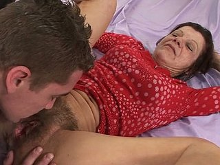 Tall stud fucks unsightly of age old bag all over hairy pussy