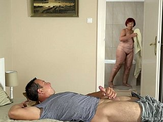 Aged nanny Marsha is having an affair fro duo scurrilous pupil